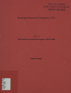 Genealogical resource for Georgetown, P.E.I - Volume 2